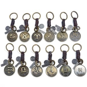 Zodiac Sign Charm Keychains for Men Women Genuine Real Leather 12 Constellations Vintage Gold Color Metal Alloy Keyring Car Key Chain Holder