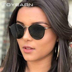 TOYEARN 2020 Lady Moda de Nova Designer Cat Big Eye óculos de sol Mulheres Espelho Vintage Sun Glasses Mulher Eyewear