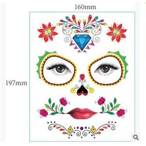 Cadılar Bayramı Geçici Yüz Sanat Su geçirmez Maskesi Şeker Dövme Güzellik Çıkartma Su Transferi Parti Dekorasyon Aksesuarları Gb1098