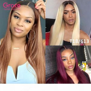 Burgundy Ombre Human Hair Wig U Part Straight Malaysian Remy Glueless Natural Wigs Colored 1B 99J Wine Red Upart Clip In Wig For Black Women