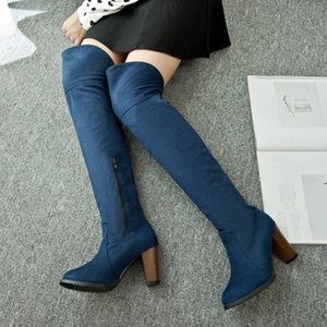 ZOGEER Faux Suede Sexy Thigh High Boots Women Over The Knee Boots Ladies Autumn Spring High Heels Shoes Woman black blue