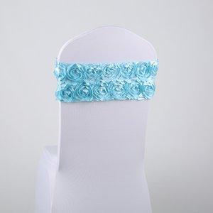 Spandex Sandalye Kanat Gül Çiçek Sandalye Bant Bow Tie Parti Düğün Sandalyeler Dekorasyon Rozet Saten Sandalye Kanat 9color DHL