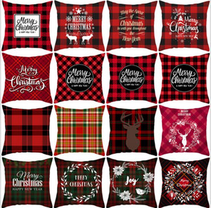 Christmas Pillow Covers Red Plaid Elk Throw Pillow Case Square Sofa Pillowcase Plaid Printing Couch Cushion Cover Christmas Decor 556