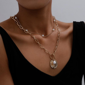 Gothic барокко Перл монеты кулон Choker ожерелье для женщин венчания Панк шарика Lariat цвета золота Длинные ожерелья цепи винтажных ювелирных изделий подарка