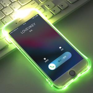 Caso flash LED de TPU para el iPhone 11 12 X XS XS XR Max Casos transparente luminoso Volver CoverRemind entrante