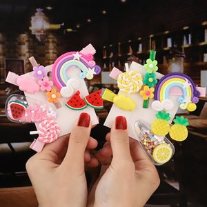 3pc set Girl hair clip Rainbow Hairpins Cartoon barrettes for Girls Children Headband Kids hair accessories hairgrips