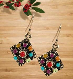 Women Bohemian Ethnic Vintage Colorful Diamond Earrings National Wind Rhinestone Ear Stud Earrings Jewelry Eardrop Gift