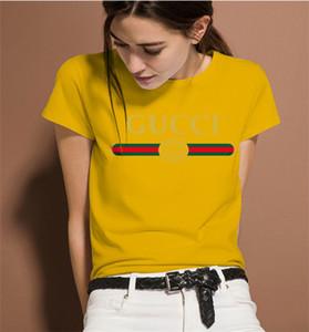 2020 El nuevo diseñador de las mujeres de lujo de moda de verano Mujeres camiseta de lujo camisa más del tamaño de manga corta con cuello en V mujeres Ropa Tops tamaño M-3XL UR0T