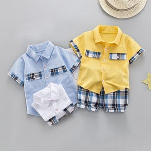 Children Clothing Boys Summer Clothes Cotton Set Shorts Shirts Plaid Pants 2pcs Party Suit 1-4 Years Baby Garments