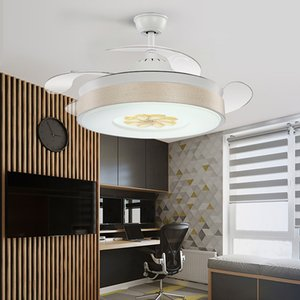 Modern LED Invisible Ventilateur De Plafond Frequency Conversion Bedroom Ceiling Fan Lamp Remote Control Household Light
