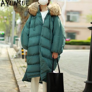 AYUNSUE Winter Down Jacket Woman Hooded 90% White Duck Down Coats Long Parkas Big Raccoon Dog Fur Collar Thick Warm Parka KJ