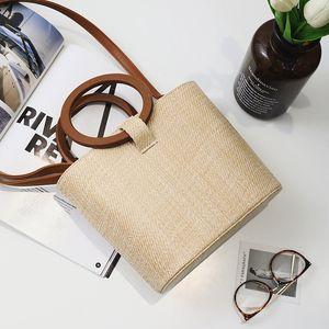 Modern stylish Sandy beach High-end Womens crossbody bags Handbag Weave Solid wood Single Inclined shoulder luxurys designers bag