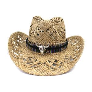 여름 여성 남성 서부 카우보이 밀짚 모자 불 헤드 밴드 장식 수제 크로 셰 뜨개질 소금 잔디 야외 챙이 넓은 해변 태양 모자