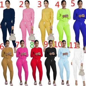 Les Créateurs Vêtements 2020 Deux Set Pieces Survêtements Casual manches longues Leggings Tenues dames couleur solide Nouveau mode en vrac Jogging Suit