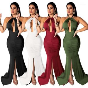 Dresses Women Perty and Club Maxi Dresses 2020 Sexy Women Designer Dresses Fashion Halter Backless Low Cut Sleeveless Bodycon