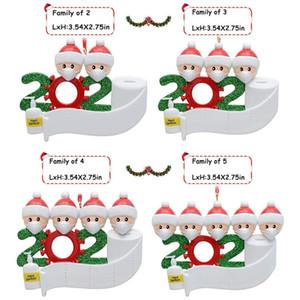 2020 cuarentena ornamentos personalizados superviviente de la familia de 2 3 4 5 6 7 Nombres de bricolaje con mascarillas mano adorno de navidad Sanitized