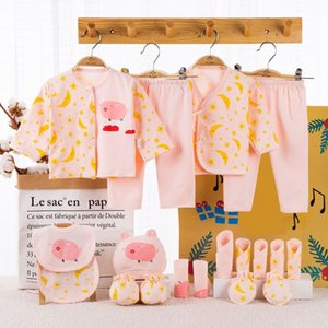 18 piece 100% Cotton Newborn Baby Girl Clothes Set Infant Baby Girl Summer Clothes Cartoon Baby Boys Clothing Toddler Hat Bibs