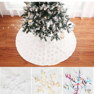 Sequin Snowflake Christmas Tree Plush Skirt Silver Gold snowflake Tree Skirt Holiday Party Christmas Decoration Home decor