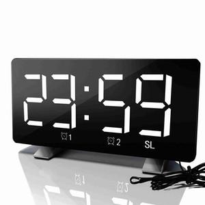 Large Display Alarm Timer Radio Table Lighting Fm Desk Digital Clock Function Sn Led Adjustable Mirror HQpAs bdetoys