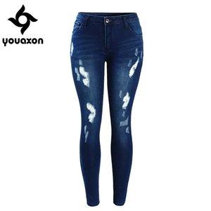 2053 Youaxon Frauen mittlere Taille modisch blau riss Röhrenjeans