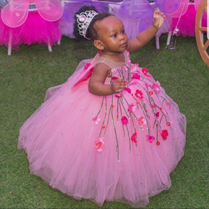 Pink Ball Gown Flower Girls Dresses Beaded 3D Floral Appliques Princess Pageant Gowns Kids Tulle Big Bow Formal Party Dress