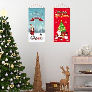 Bandera colorida Festival Nuevas decoraciones de Navidad colgante largo Bandera de Navidad que tira de la pared del pabellón colgantes al por mayor de Año Nuevo 2021