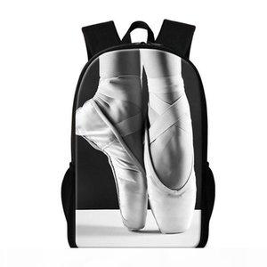 Cute Ballet Dancing Girl School Backpack for Teenagers Trendy Lightweight Bookbag Pattern Toe Shoe Print Bagpack Personalized Kids Rucksack