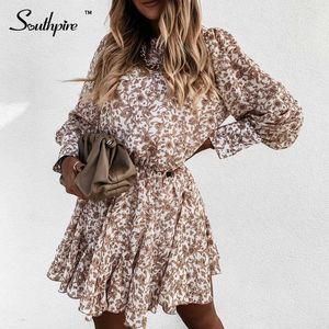 Southpire simple de la flor impresión marrón vestido de la vendimia de las mujeres de manga larga Button Streetwear oficina casual vestido de la señora ropa de fiesta