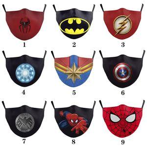 배트맨 스파이더 맨 캡틴 아메리카 슈퍼 영웅 성인 디자이너 럭셔리 얼굴 마스크 파티 코스프레 마스크 재사용 먼지 방풍면 축제 마스크