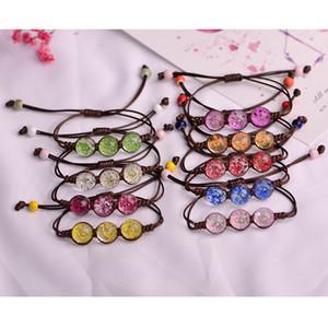 Moda de flores naturales secas tejidas señoras de la flor pulsera de la personalidad simple brazalete ajustable joyas hechas a mano 10-SL16