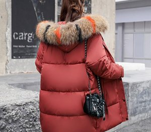 Deodar 2018 autumn winter Women ladies Fashion fur hoodie long Down jacket Cotton thick Parkas Female Long warm clothing coat S116