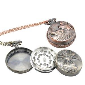 Pocket Watch Shape Herb Grinder 40mm Metal Eagle Tobacco Grinder 3 Layers Tobacco Crusher Grinders Smoking Accessories CCA12529