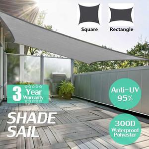 Shade Waterproof 300D Black Square Rectangle Sail Garden Terrace Canopy Swimming Sun Camping Hiking Yard Awnings