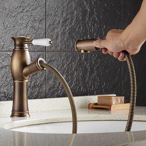 latão Vidric preto quente e fria / bronze antigo banheiro sofá-bacia banheiro torneira da pia torneira torneira com sofá-cabeça do chuveiro