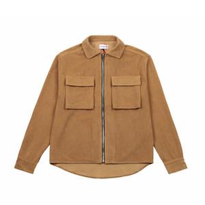 20FW European Velvet Fracht Hemd-Jacken-High Street Buttons Zipper Vintage-Jacke Paar Frauen und Herren Taschen Fashion Coat HFXHJK153