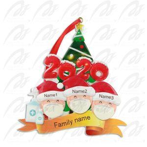 Выжил Family орнамент 9 стилей Смола Ёлочные украшения 2020 Xmas маска 50шт Снеговик Подвеска рождественские украшения CCA12555