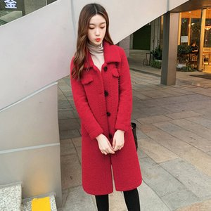 Hot Sale Lambs Wool Winter Jacket Women Single-Breasted Long Warm Parka Mujer Thick Lambswool Plush Women Winter Jacket Coats