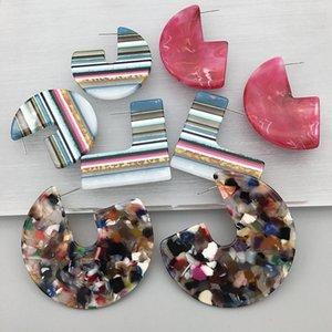 UJBOX 2020 Hiver Motif rayé coloré acétate résine acrylique Boucles d'oreilles Femme Boucles d'oreilles géométriques semi-circulaire