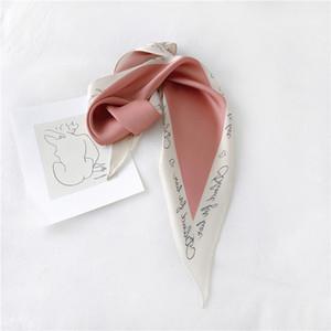 Dolphin primavera diamante de las mujeres de la bufanda 110 * 35cm Carta impresión de la flor de la gasa de seda bufandas Oficina Pink Lady Las vendas Bandana