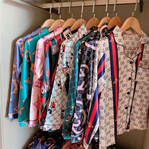 Raso di seta Coppia pigiama estivo Pijama Hombre Mens pigiama Set 2 1Pcss Solid stampata fiore Sleepwear SleepLounge manica lunga Abbigliamento sportivo P # 947