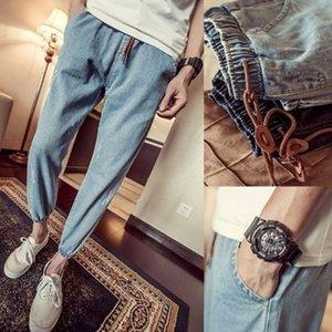Autumn Winter Jeans Men's New Elastic Drawstring Tethered Slim-Fitting Feet Nine-Point Pants Black All-Match