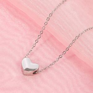 -Tridimensional joyería de la boda del collar del corazón para las mujeres cadena de plata color de moda estética estereoscópica amor del Corazón colgante