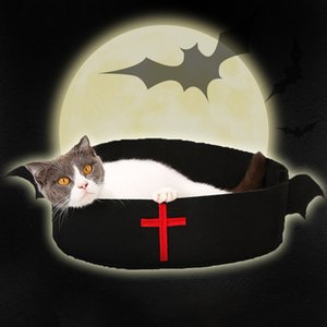 New Hot Dog Cat Bed Bats Design Cat House Pet Halloween Sleeping Mat Christmas Old Man Belt Bed for Small Dog SM