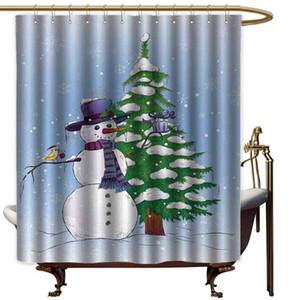 크리스마스 엑스트라 와이드 겨우살이 선물 모자와 스카프 나무와 새 패브릭 샤워와 함께 겨울에 커튼 눈사람 샤워