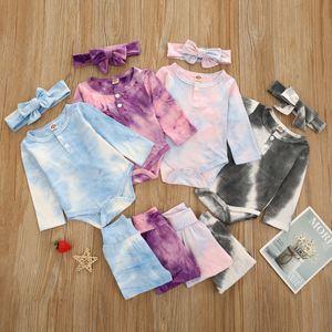 Baby Boys Girls Tie Dye Clothing Sets Long Sleeve Romper+Pants+Bow Heabands 3Pcs Set Boutique Infants Cotton Outfits Z1662