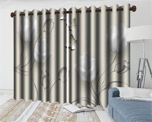 Benutzerdefinierte 3D Vorhang Romantische Blumen Blackout Curtain Elegante weiße Blumen Schmetterlinge Dekorative Innen Schöne Blackout Vorhänge