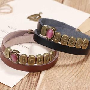 Woman Leather Bracelets Opal Vintage Bracelets Simple Exquisite Hand Catenary For Man Vintage Alloy Letter Punk