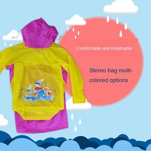 aontR unisexe endroit pour enfants vêtements de corps PVC Sac imperméable corps Cloak vêtements imperméables bande dessinée couleur mélangée stude poncho motif Cartable