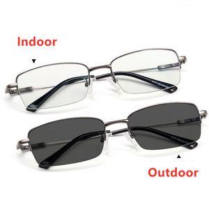 Многоочаговых Reading Glasses Фотохромные Открытый Женщины Мужчины Стекло металлический каркас дальнозоркостью очки Анти синий свет