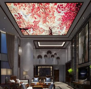Custom 3D Ceiling Photo Wallpaper Beautiful blue sky maple red leaves living room bedroom KTV ceiling zenith mural Wallpapers